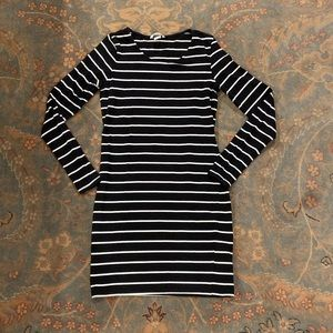 Fitted Striped Jersey Knit Dress